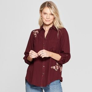 Knox Rose Shirt Button Floral Maroon Linen Small